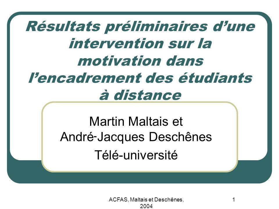 ACFAS, Maltais et Deschênes, 2004 1 Résultats préliminaires dune intervention sur la motivation dans lencadrement des étudiants à distance Martin Malt