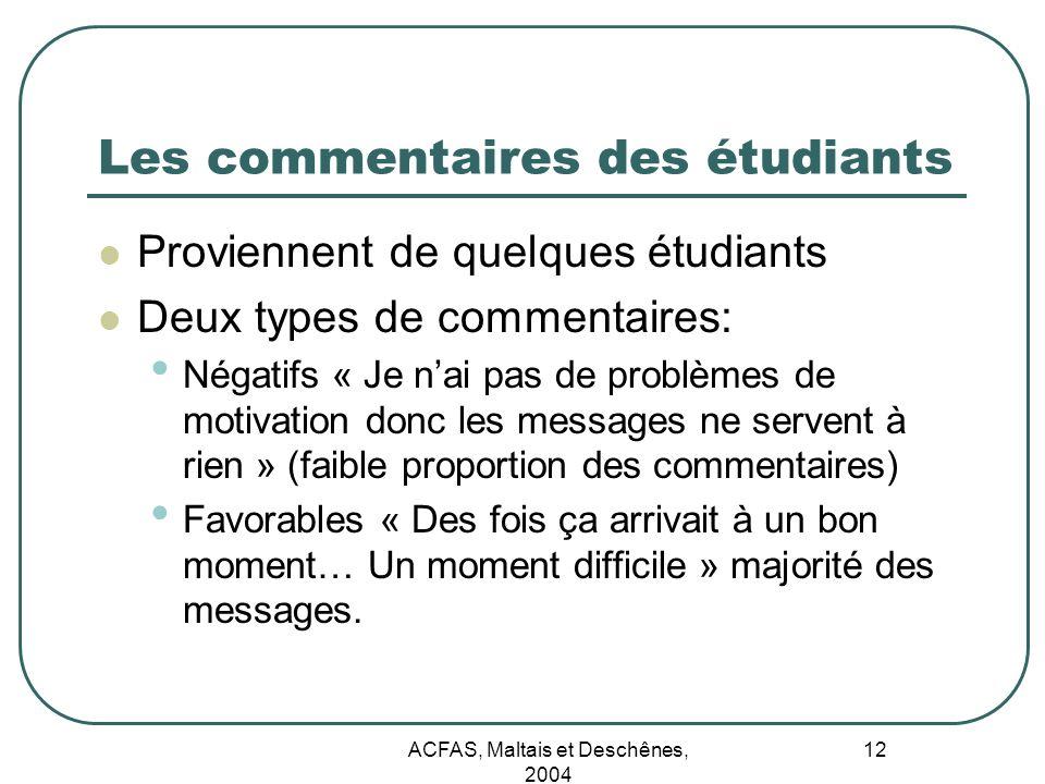 ACFAS, Maltais et Deschênes, 2004 12 Les commentaires des étudiants Proviennent de quelques étudiants Deux types de commentaires: Négatifs « Je nai pa