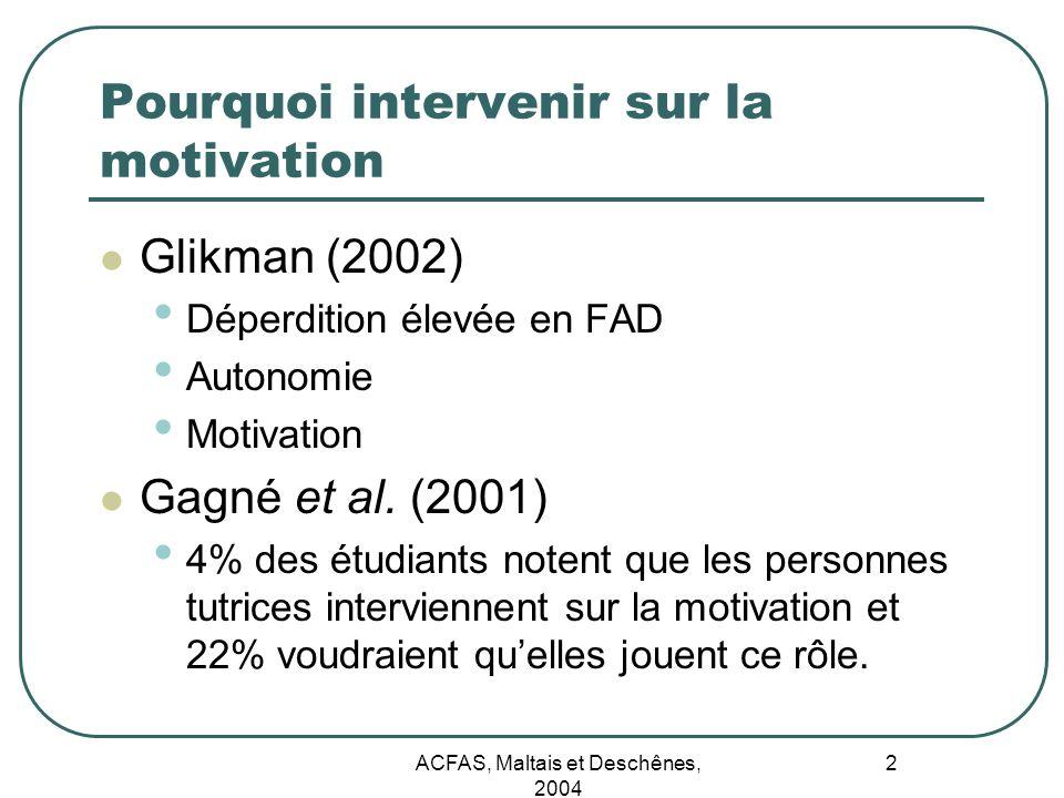 ACFAS, Maltais et Deschênes, 2004 2 Glikman (2002) Déperdition élevée en FAD Autonomie Motivation Gagné et al. (2001) 4% des étudiants notent que les