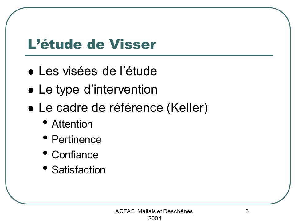 ACFAS, Maltais et Deschênes, 2004 3 Létude de Visser Les visées de létude Le type dintervention Le cadre de référence (Keller) Attention Pertinence Co