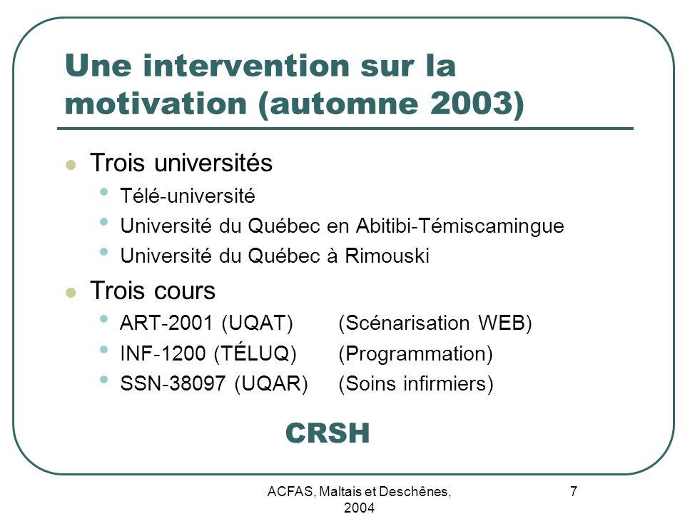 ACFAS, Maltais et Deschênes, 2004 7 Une intervention sur la motivation (automne 2003) Trois universités Télé-université Université du Québec en Abitib