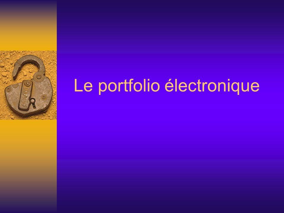 Plan de présentation Une définition de portfolio Les types de portfolio pour lapprenant Les apports de son utilisation dans lapprentissage Les avantages et les inconvénients du support électronique Limplantation dans un programme Un exemple de portfolio