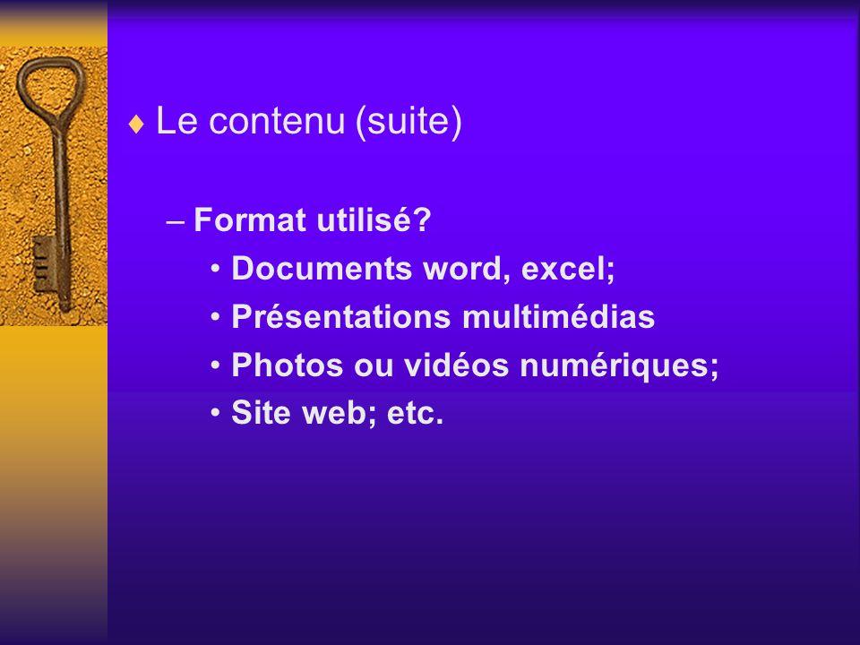 Le contenu (suite) –Format utilisé? Documents word, excel; Présentations multimédias Photos ou vidéos numériques; Site web; etc.