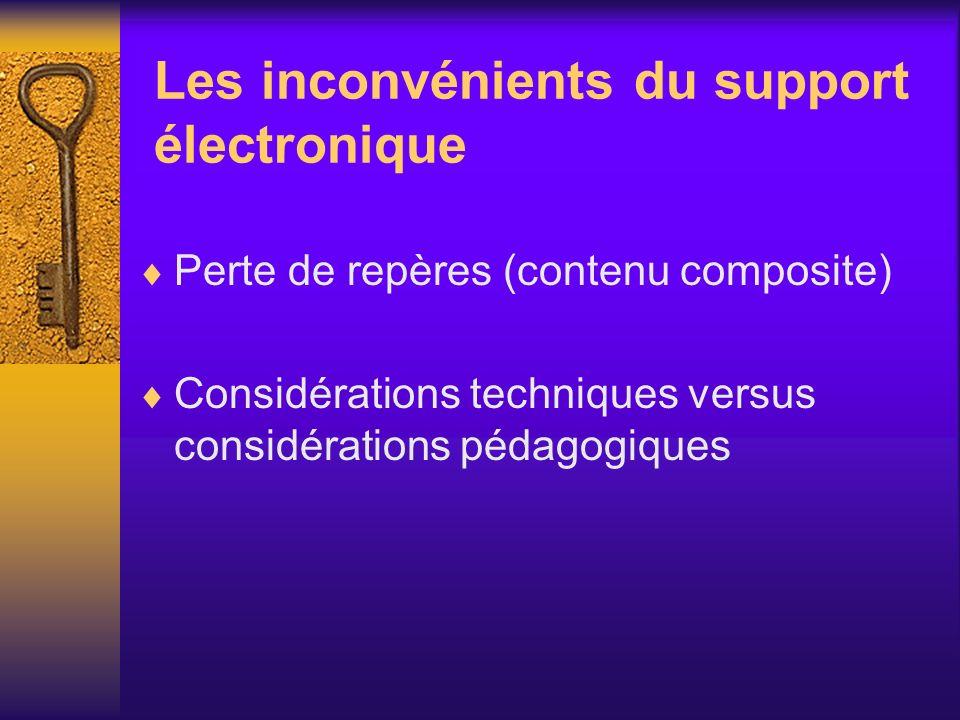 Les inconvénients du support électronique Perte de repères (contenu composite) Considérations techniques versus considérations pédagogiques