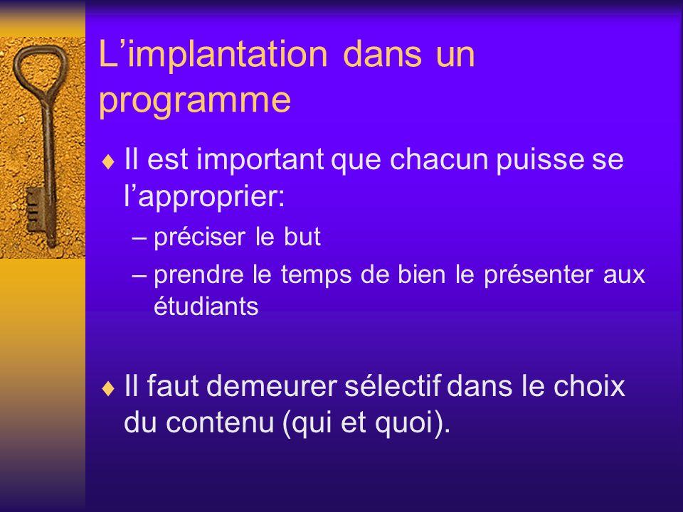 Limplantation dans un programme Il est important que chacun puisse se lapproprier: –préciser le but –prendre le temps de bien le présenter aux étudian