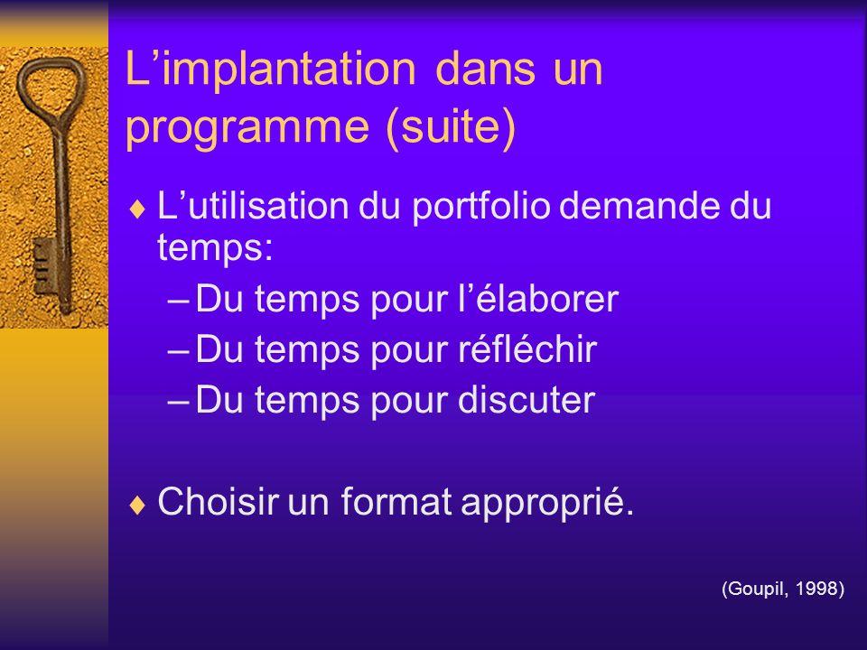 Limplantation dans un programme (suite) Lutilisation du portfolio demande du temps: –Du temps pour lélaborer –Du temps pour réfléchir –Du temps pour d