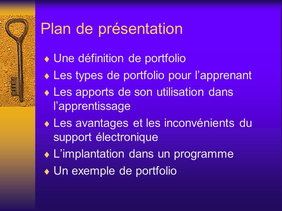 Plan de présentation Une définition de portfolio Les types de portfolio pour lapprenant Les apports de son utilisation dans lapprentissage Les avantag