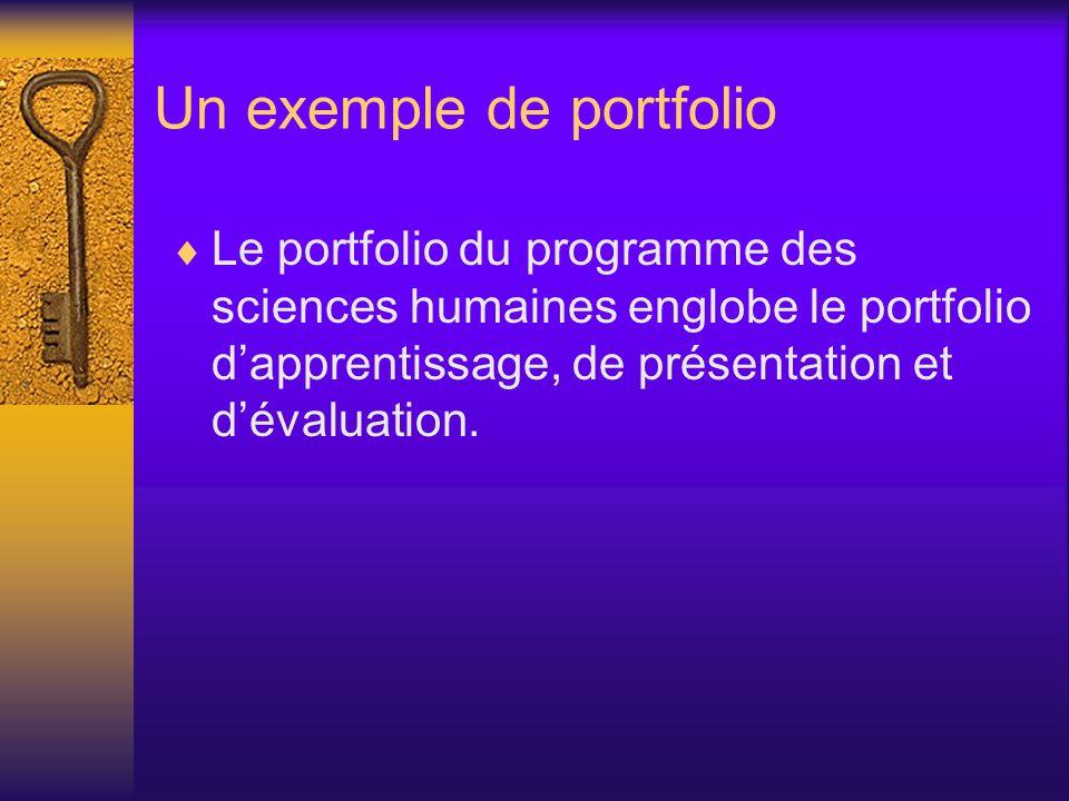 Un exemple de portfolio Le portfolio du programme des sciences humaines englobe le portfolio dapprentissage, de présentation et dévaluation.
