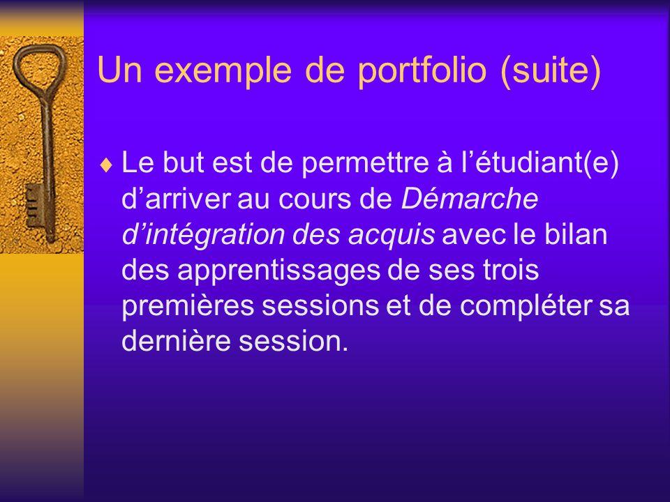 Un exemple de portfolio (suite) Le but est de permettre à létudiant(e) darriver au cours de Démarche dintégration des acquis avec le bilan des apprent