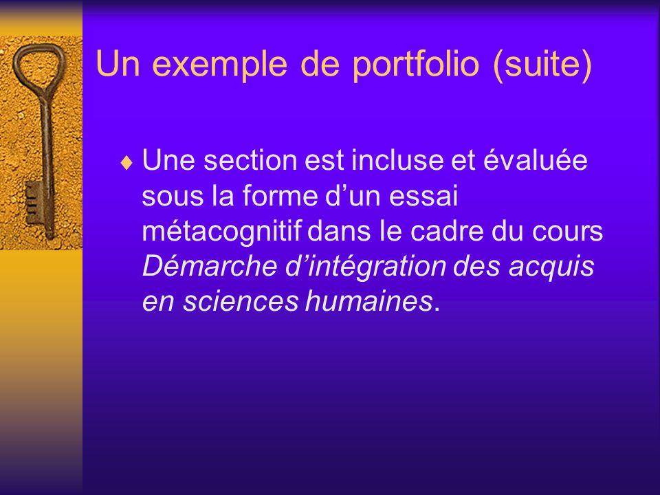 Un exemple de portfolio (suite) Une section est incluse et évaluée sous la forme dun essai métacognitif dans le cadre du cours Démarche dintégration d