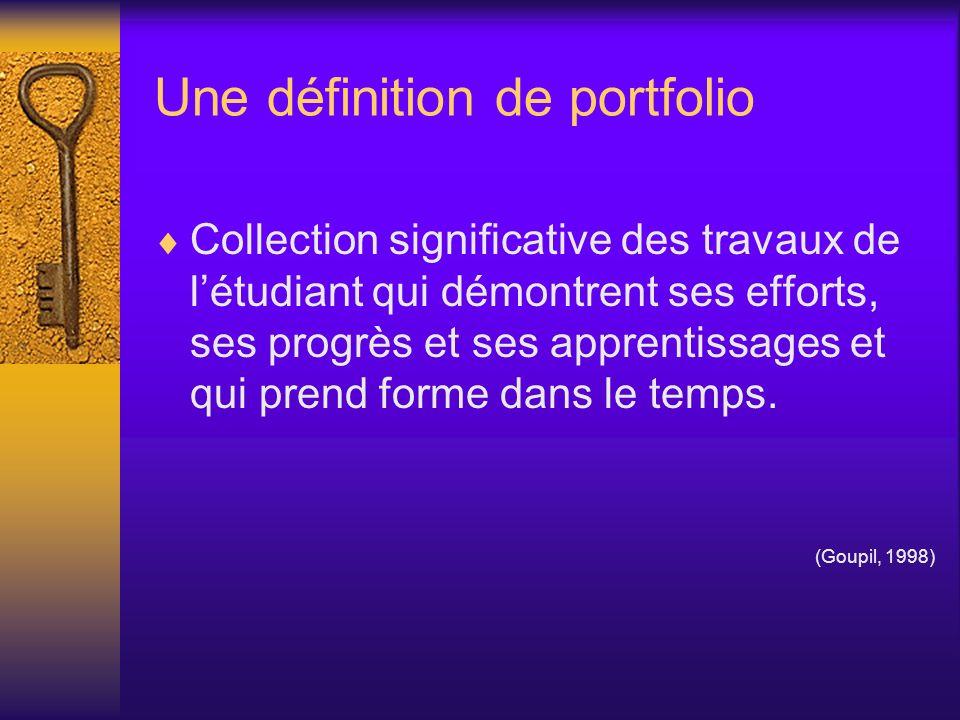 Un exemple de portfolio (suite) Une section est incluse et évaluée sous la forme dun essai métacognitif dans le cadre du cours Démarche dintégration des acquis en sciences humaines.