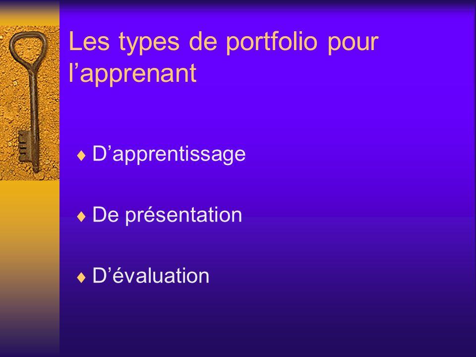 Le portfolio dapprentissage –Ce type de portfolio est aussi appelé portfolio de progression.