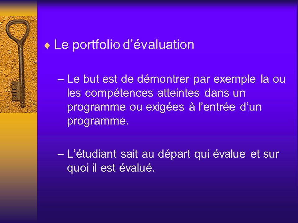 Le portfolio dévaluation –Le but est de démontrer par exemple la ou les compétences atteintes dans un programme ou exigées à lentrée dun programme. –L