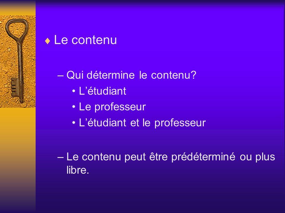 Le contenu –Qui détermine le contenu? Létudiant Le professeur Létudiant et le professeur –Le contenu peut être prédéterminé ou plus libre.