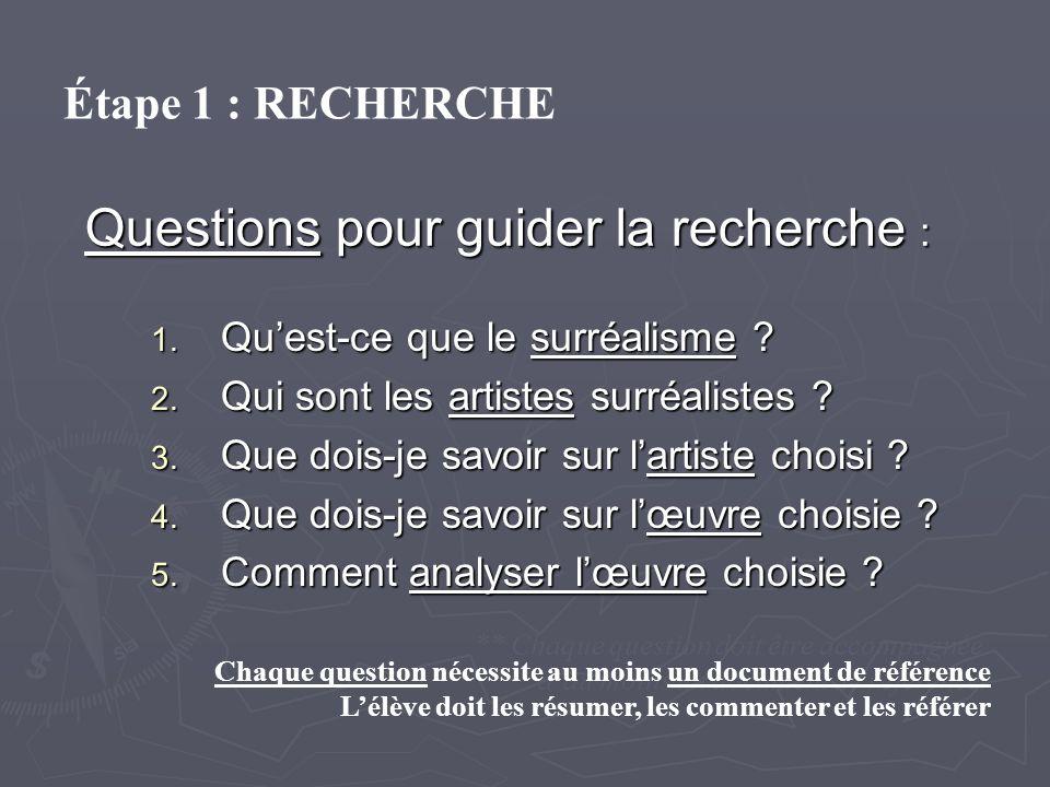 Questions pour guider la recherche : 1. Quest-ce que le surréalisme ? 2. Qui sont les artistes surréalistes ? 3. Que dois-je savoir sur lartiste chois