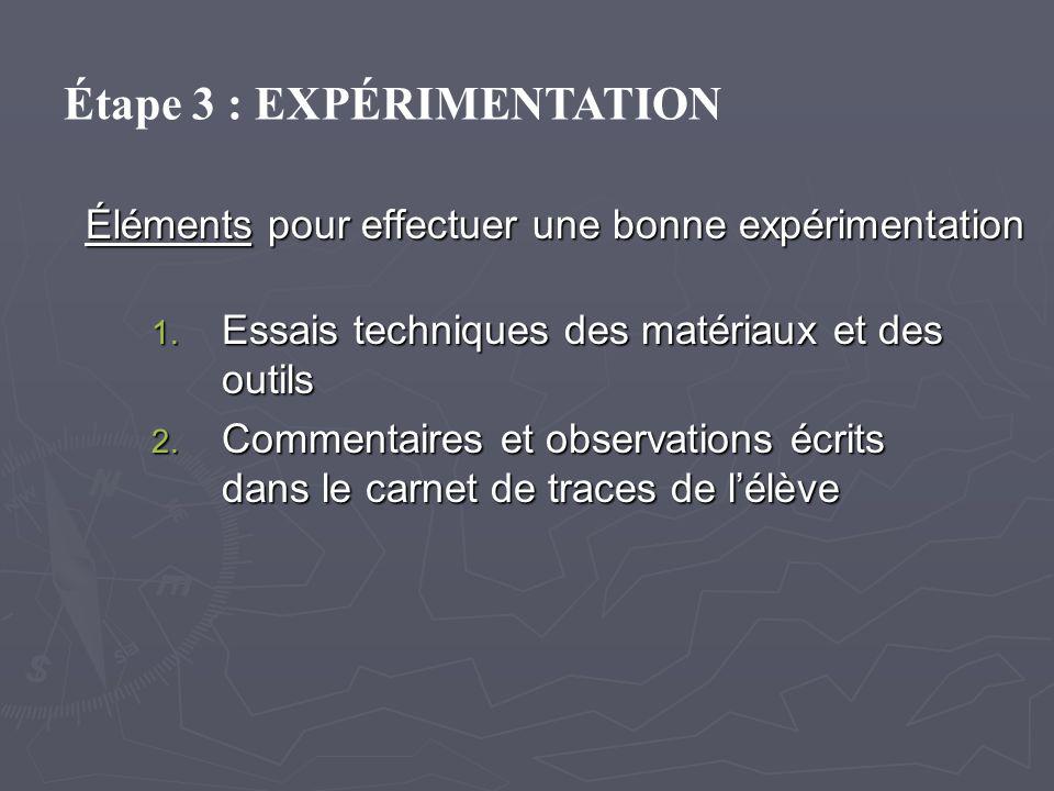 Éléments pour effectuer une bonne expérimentation 1. Essais techniques des matériaux et des outils 2. Commentaires et observations écrits dans le carn