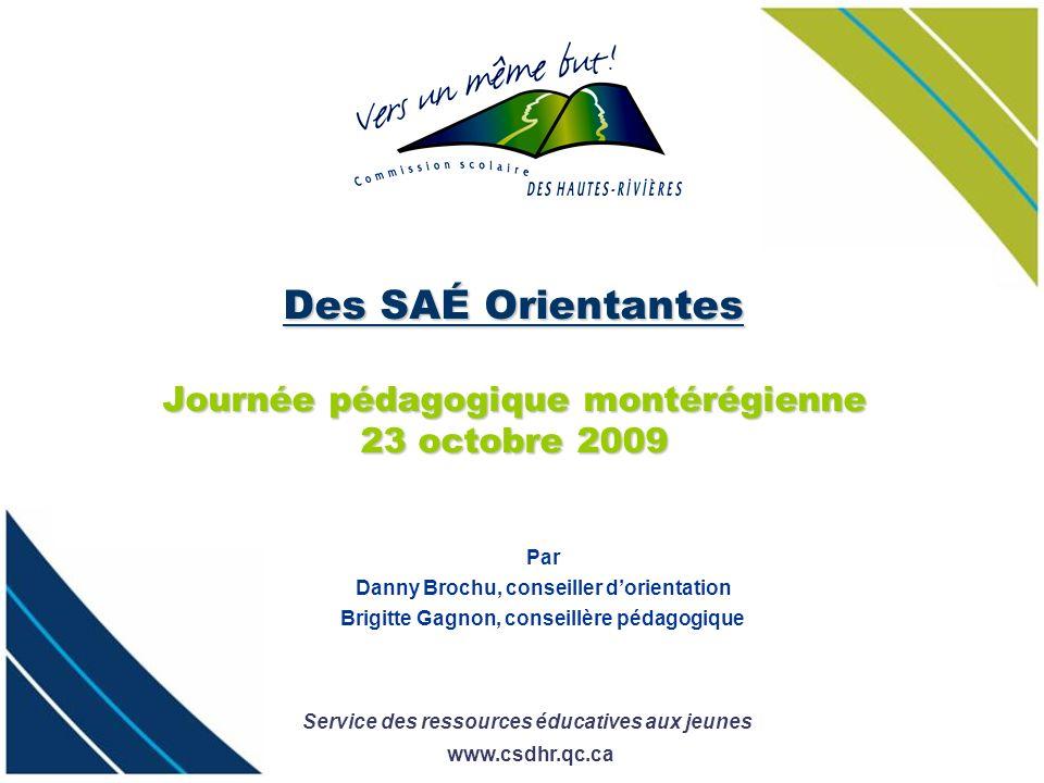 Service des ressources éducatives aux jeunes www.csdhr.qc.ca Des SAÉ Orientantes Journée pédagogique montérégienne 23 octobre 2009 Par Danny Brochu, c