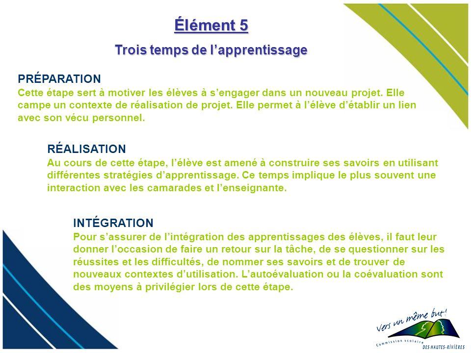 Élément 5 PRÉPARATION Cette étape sert à motiver les élèves à sengager dans un nouveau projet. Elle campe un contexte de réalisation de projet. Elle p