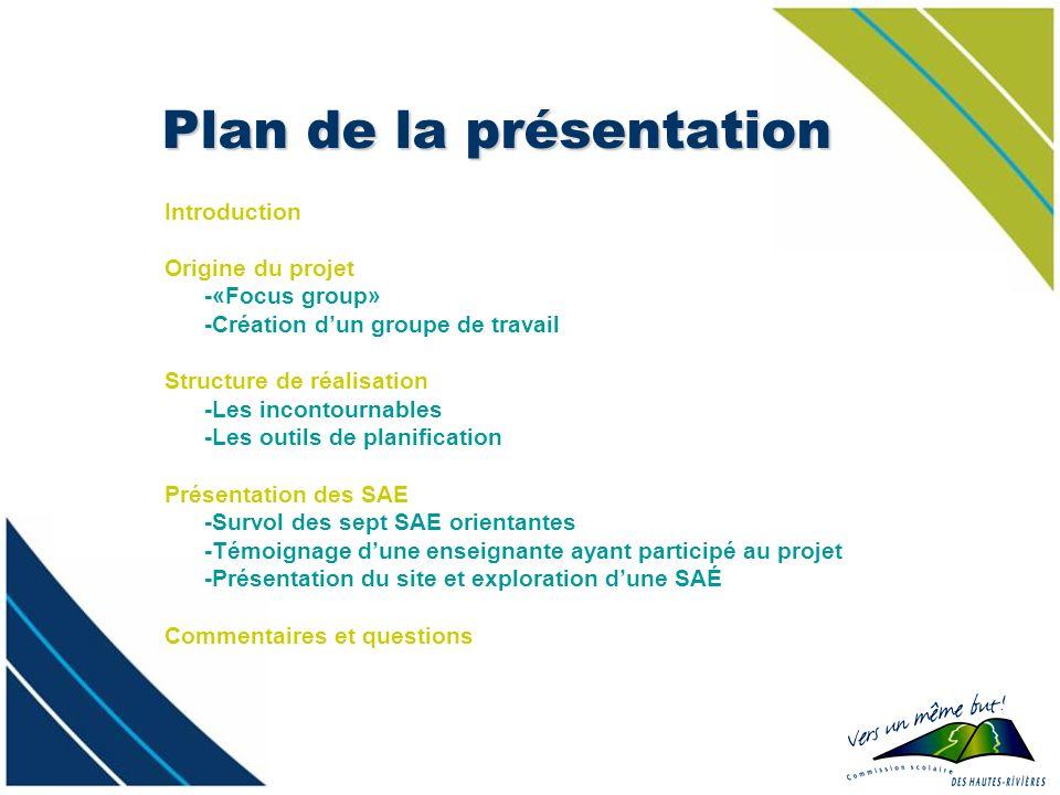 Plan de la présentation Introduction Origine du projet -«Focus group» -Création dun groupe de travail Structure de réalisation -Les incontournables -L