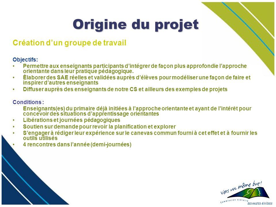 Origine du projet Création dun groupe de travail Objectifs: Permettre aux enseignants participants dintégrer de façon plus approfondie lapproche orien