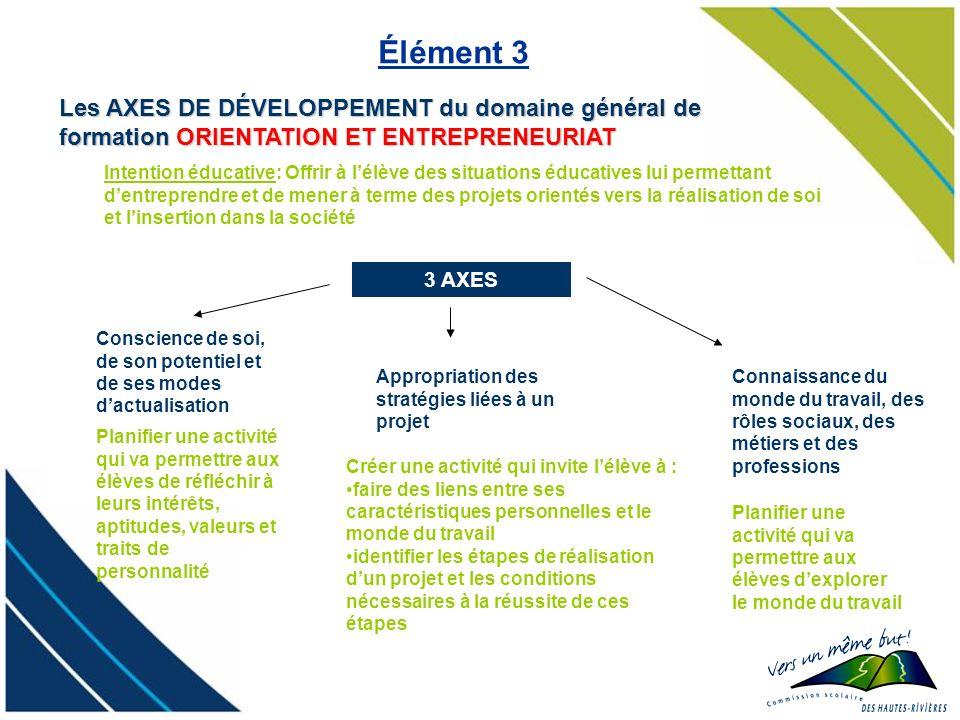 3 AXES Les AXES DE DÉVELOPPEMENT du domaine général de formation ORIENTATION ET ENTREPRENEURIAT Élément 3 Connaissance du monde du travail, des rôles