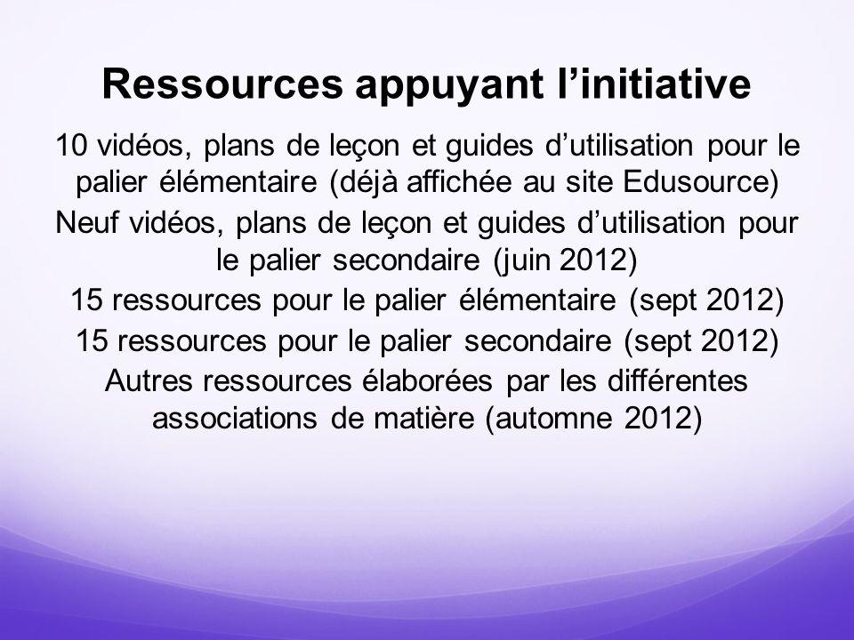 Ressources appuyant linitiative 10 vidéos, plans de leçon et guides dutilisation pour le palier élémentaire (déjà affichée au site Edusource) Neuf vid