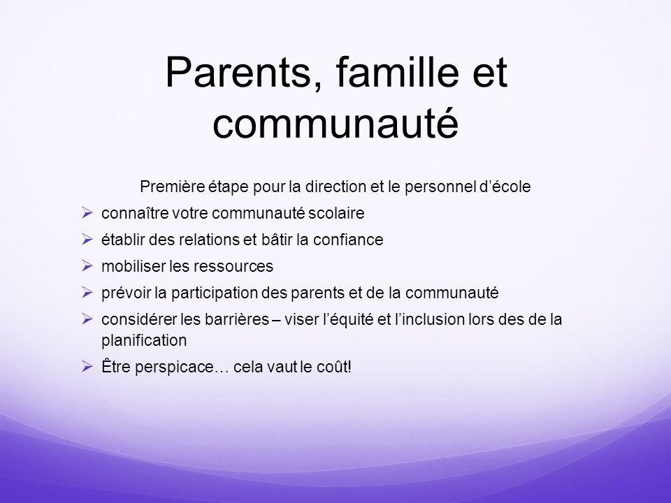 Parents, famille et communauté Première étape pour la direction et le personnel décole connaître votre communauté scolaire établir des relations et bâ