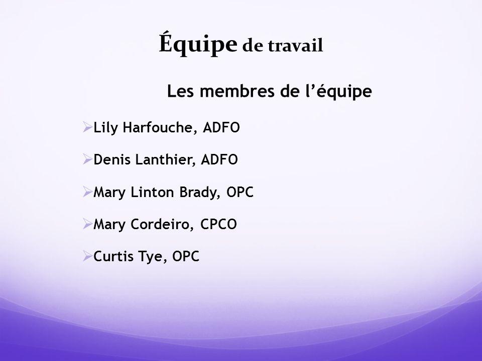 Équipe de travail Les membres de léquipe Lily Harfouche, ADFO Denis Lanthier, ADFO Mary Linton Brady, OPC Mary Cordeiro, CPCO Curtis Tye, OPC