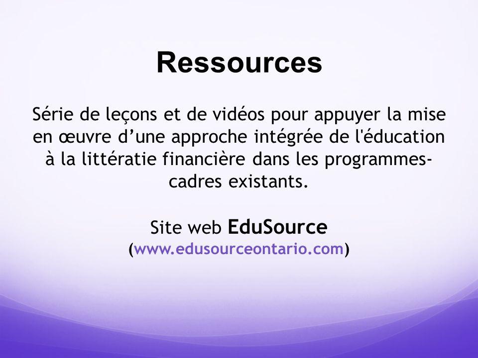 Ressources Série de leçons et de vidéos pour appuyer la mise en œuvre dune approche intégrée de l'éducation à la littératie financière dans les progra