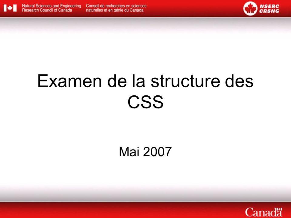 Examen de la structure des CSS Mai 2007