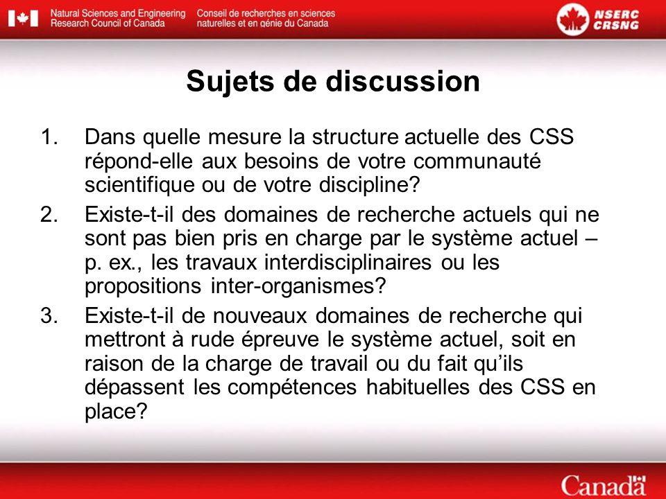Sujets de discussion 1.Dans quelle mesure la structure actuelle des CSS répond-elle aux besoins de votre communauté scientifique ou de votre disciplin