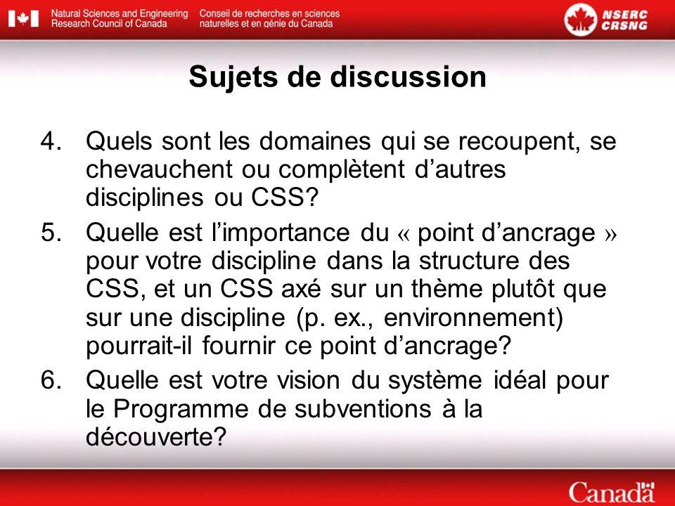 Sujets de discussion 4.Quels sont les domaines qui se recoupent, se chevauchent ou complètent dautres disciplines ou CSS? 5.Quelle est limportance du