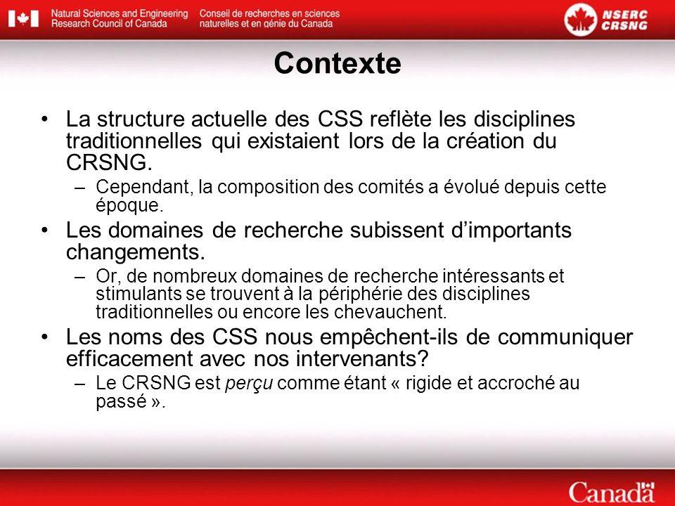 Contexte La structure actuelle des CSS reflète les disciplines traditionnelles qui existaient lors de la création du CRSNG. –Cependant, la composition