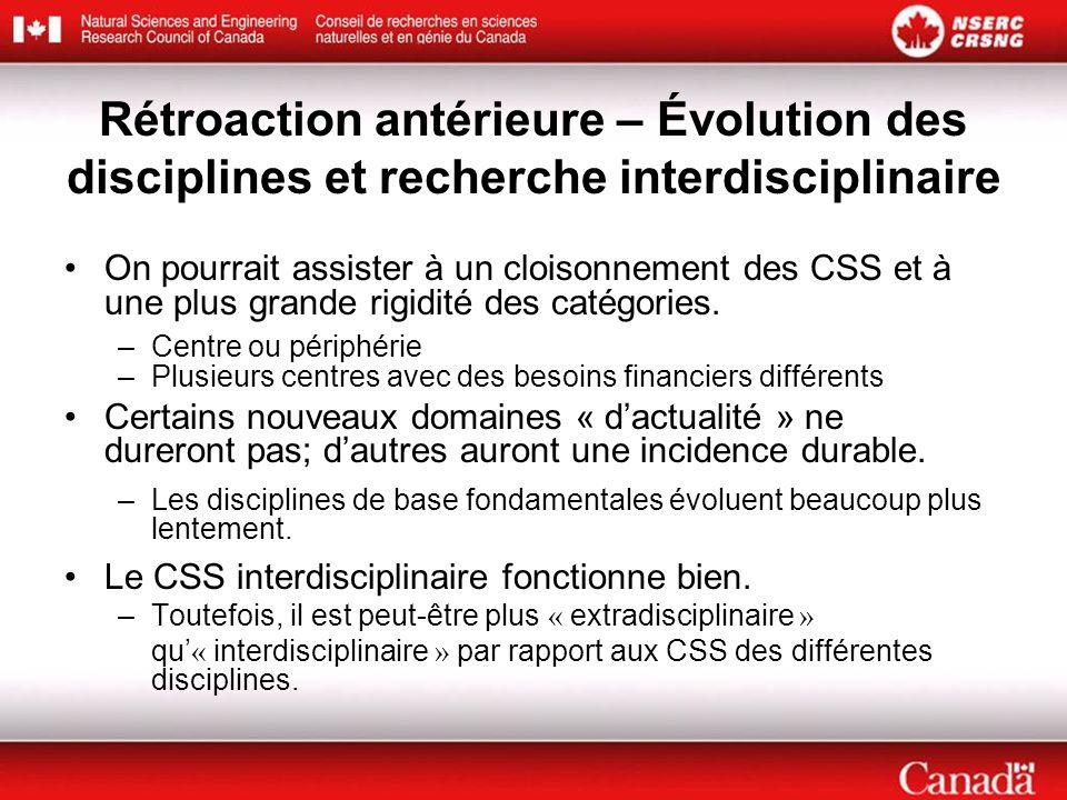 Rétroaction antérieure – Évolution des disciplines et recherche interdisciplinaire On pourrait assister à un cloisonnement des CSS et à une plus grande rigidité des catégories.