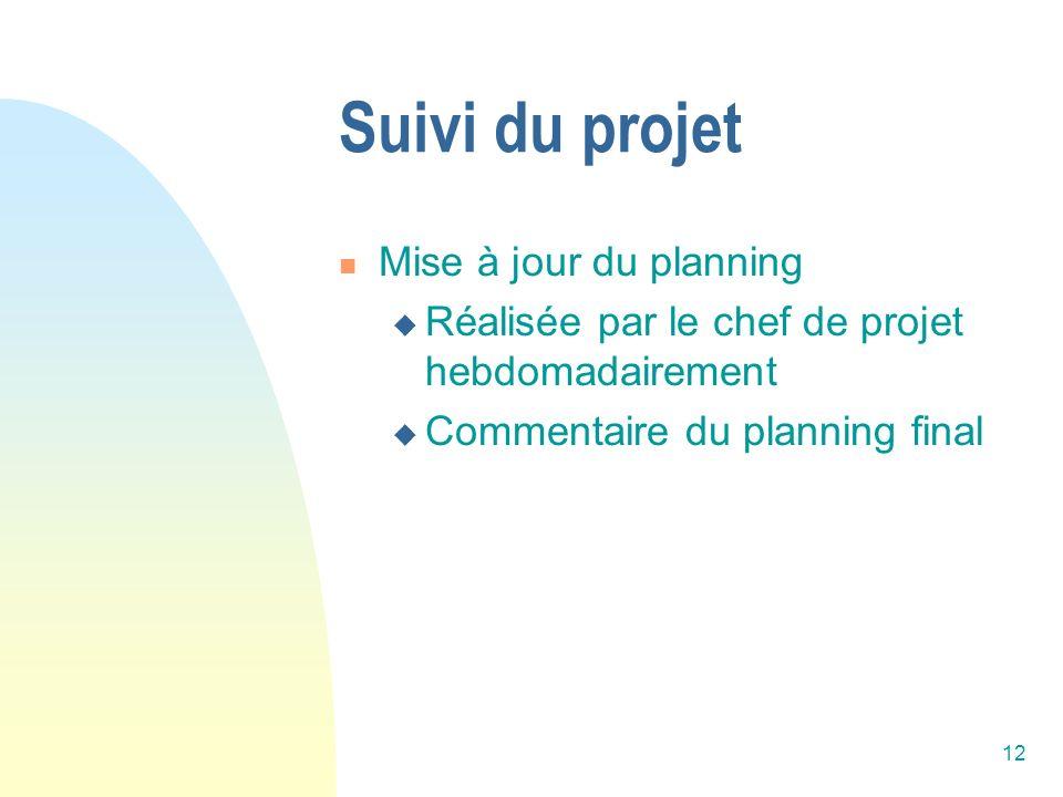 12 Suivi du projet Mise à jour du planning Réalisée par le chef de projet hebdomadairement Commentaire du planning final