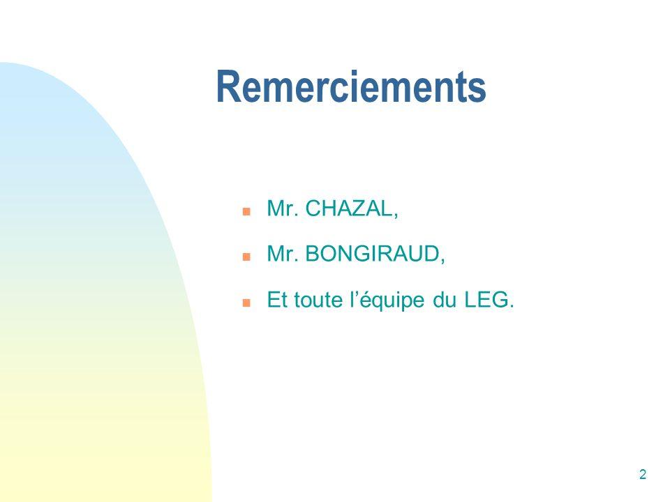 2 Remerciements Mr. CHAZAL, Mr. BONGIRAUD, Et toute léquipe du LEG.