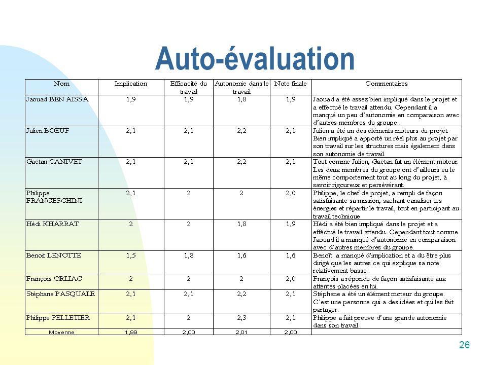 26 Auto-évaluation