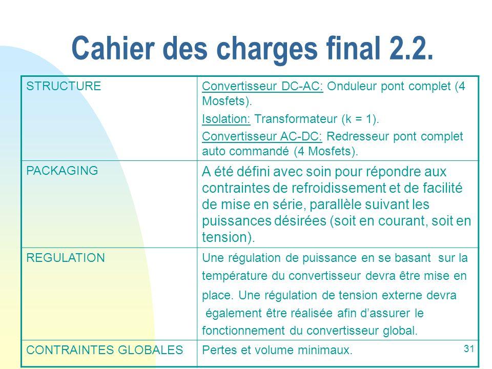 31 Cahier des charges final 2.2. STRUCTUREConvertisseur DC-AC: Onduleur pont complet (4 Mosfets). Isolation: Transformateur (k = 1). Convertisseur AC-