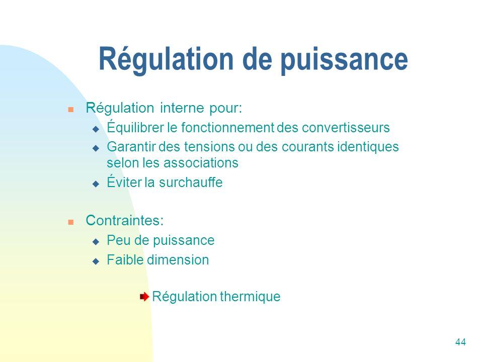 44 Régulation de puissance Régulation interne pour: Équilibrer le fonctionnement des convertisseurs Garantir des tensions ou des courants identiques s