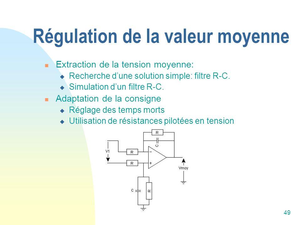 49 Régulation de la valeur moyenne Extraction de la tension moyenne: Recherche dune solution simple: filtre R-C. Simulation dun filtre R-C. Adaptation