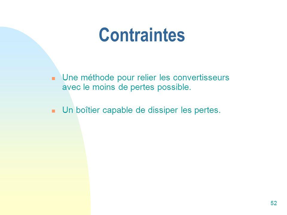 52 Contraintes Une méthode pour relier les convertisseurs avec le moins de pertes possible. Un boîtier capable de dissiper les pertes.