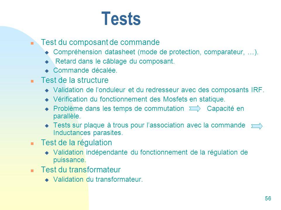 56 Tests Test du composant de commande Compréhension datasheet (mode de protection, comparateur, …). Retard dans le câblage du composant. Commande déc