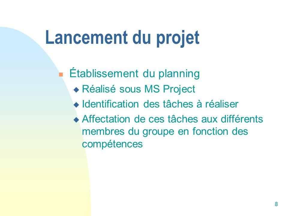 8 Établissement du planning Réalisé sous MS Project Identification des tâches à réaliser Affectation de ces tâches aux différents membres du groupe en