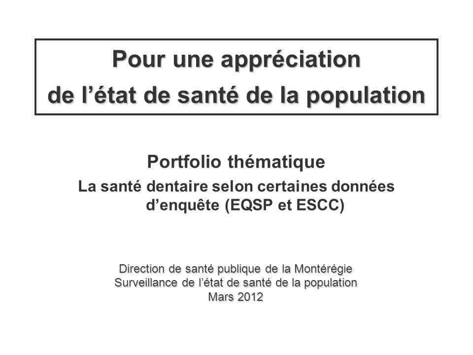 Direction de santé publique de la Montérégie Surveillance de létat de santé de la population Mars 2012 Portfolio thématique La santé dentaire selon ce
