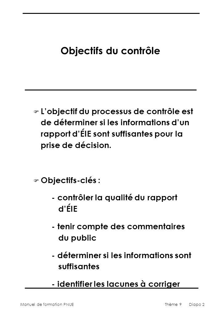Manuel de formation PNUEThème 9 Diapo 2 Objectifs du contrôle F Lobjectif du processus de contrôle est de déterminer si les informations dun rapport dÉIE sont suffisantes pour la prise de décision.