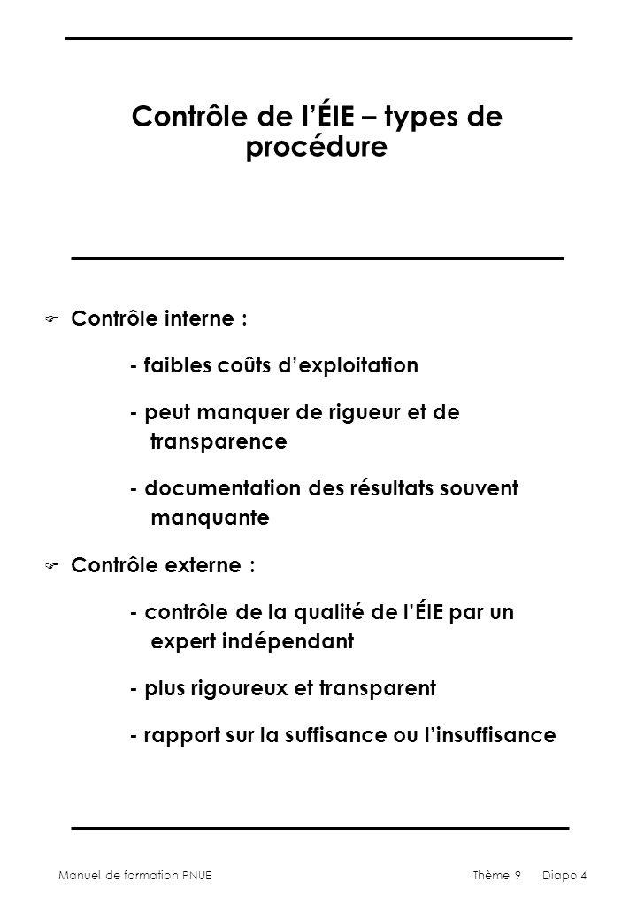 Manuel de formation PNUEThème 9 Diapo 5 Procédures de contrôle de lÉIE F agence environnementale F panel indépendant (ou modérateur) F commission permanente F comité inter-agences F autorité chargée de la planification
