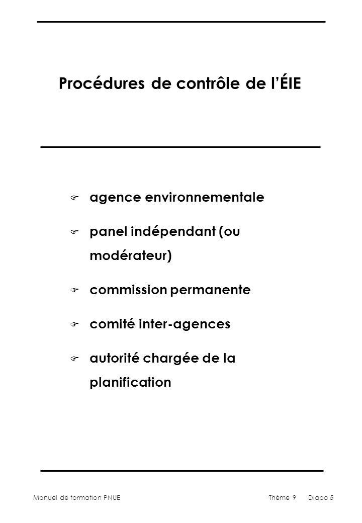 Manuel de formation PNUEThème 9 Diapo 6 Contrôle de lÉIE – étapes vers les bonnes pratiques F définir léchelle du contrôle F sélectionner un ou plusieurs contrôleurs F utiliser la participation du public F identifier des critères de contrôle F effectuer le contrôle F déterminer les options correctives F publier le rapport de contrôle