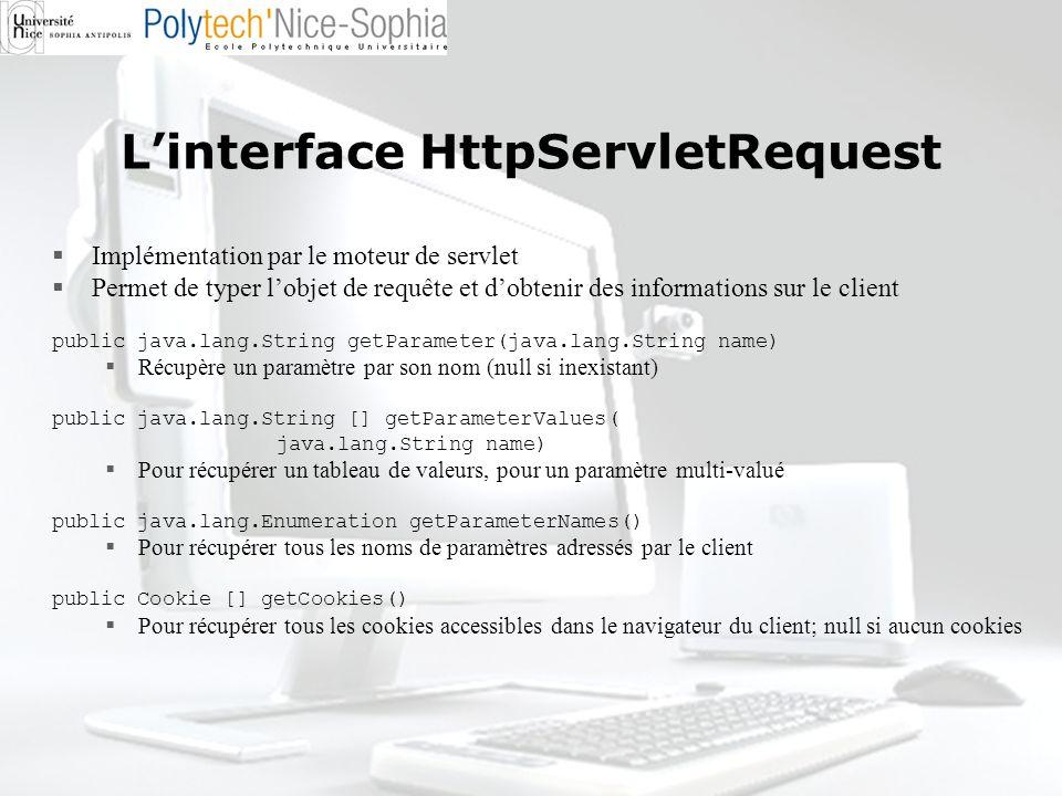 Linterface HttpServletRequest Implémentation par le moteur de servlet Permet de typer lobjet de requête et dobtenir des informations sur le client pub