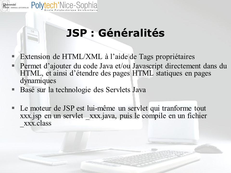 JSP : Généralités Extension de HTML/XML à laide de Tags propriétaires Permet dajouter du code Java et/ou Javascript directement dans du HTML, et ainsi