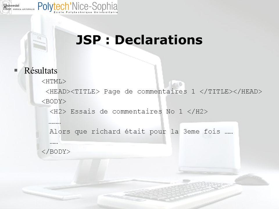 JSP : Declarations Résultats Page de commentaires 1 Essais de commentaires No 1 ……… Alors que richard était pour la 3eme fois …… ……